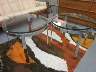 Pair Of Nikos Zographos Circular Steel & Glass End Tables C1970 photo