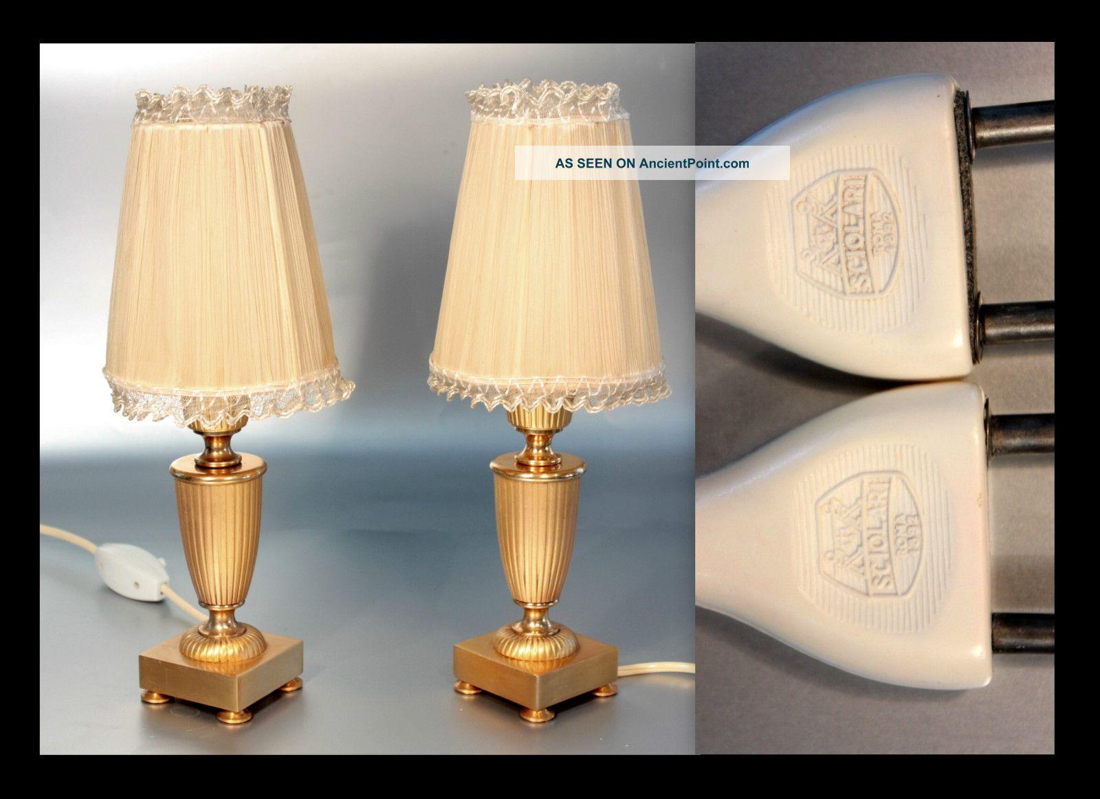 a pair of sciolari gilt table lamps silk shades hollywood re