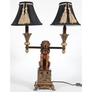 Vintage Style Lion Double Lights Table Lamp,  24  Tall. photo