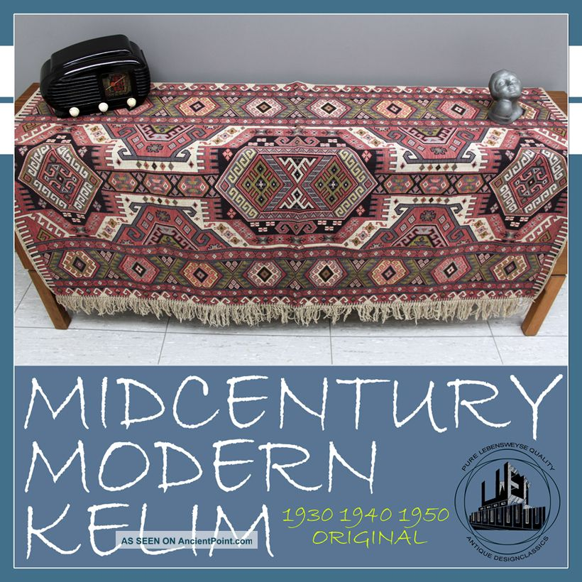 Art Deco À Midcentury Modern Kelim Carpet Bedspread Plaid Rug Flachgewebe Perse Medium (4x6-6x9) photo