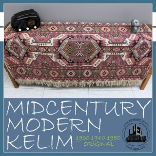 Art Deco À Midcentury Modern Kelim Carpet Bedspread Plaid Rug Flachgewebe Perse photo