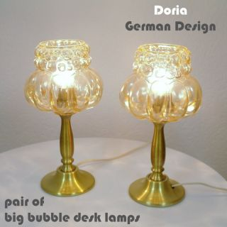 Wow Pair Of Big Bubble Doria Desklamps On Trumped Base Colored Glass 60 ' S photo