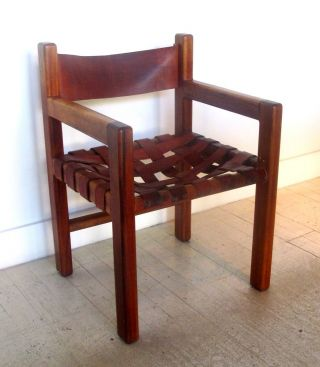 Amazing Leather Strap Craftsman Modern Exotic Wood Arm Chair photo