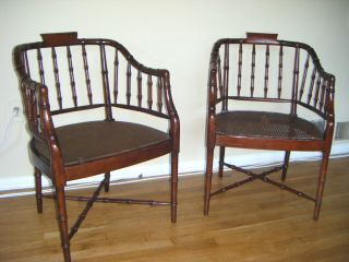 Pair Of Antique Faux Bamboo Chairs Chinese Chippendale Directoire photo