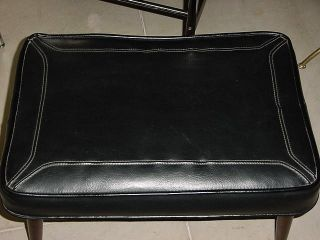 Top Stiched Leather Mid Century Bench Danish Modern photo