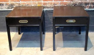 Pair Henredon Mahogany Campaign Style End Tables Refinished Espresso 1950s photo