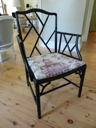 Vintage Refurbished Midcentury Chinese Chippendale Chair Asian Toile Fabric photo