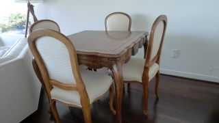 Vintage Game Or Dining Table With 4 Chairs photo