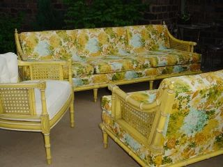 Hollywood Regency Heavy Rataan Dorothy Draper Era Couch,  Loveseat,  Chair Sunroom photo