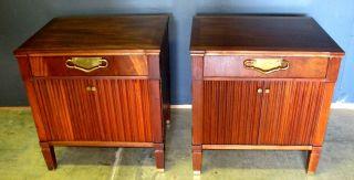 Pair Hollywood Regency Mahogany Brass Nightstands Johnson Furniture Renzo Rutili photo