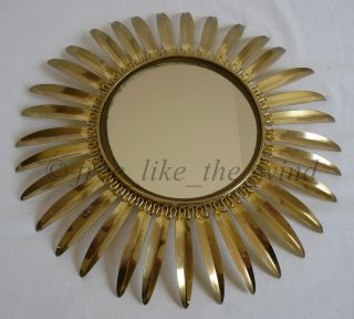 French Mid - Cenrury Sunburst Starburst Gilt Metal Brass Wall Mirror 1950s photo