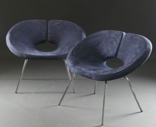 Pair Of Swedish Lounge Chairs With Sculpted Metal Frames Midcentury Mcm photo