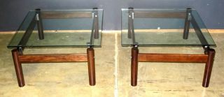 Brazilian Rosewood Imboya Wood Pair End Tables Lafer photo