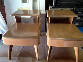 Vintage Heywood Wakefield Step - End Tables With Drawer