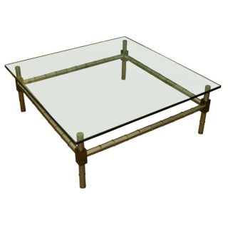 Oversized Chrome Faux Bamboo Coffee Table photo