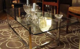 Antique Mid - Century Modern Chrome & Glass Cocktail And/or Coffee Table photo