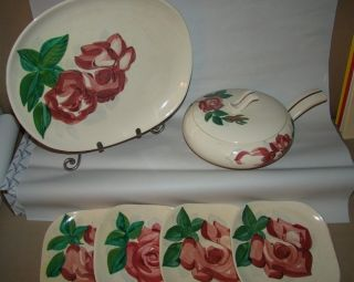 Antique Handpainted Covered Casserole Dish,  Serving Platter & 4 Desserts Redware photo