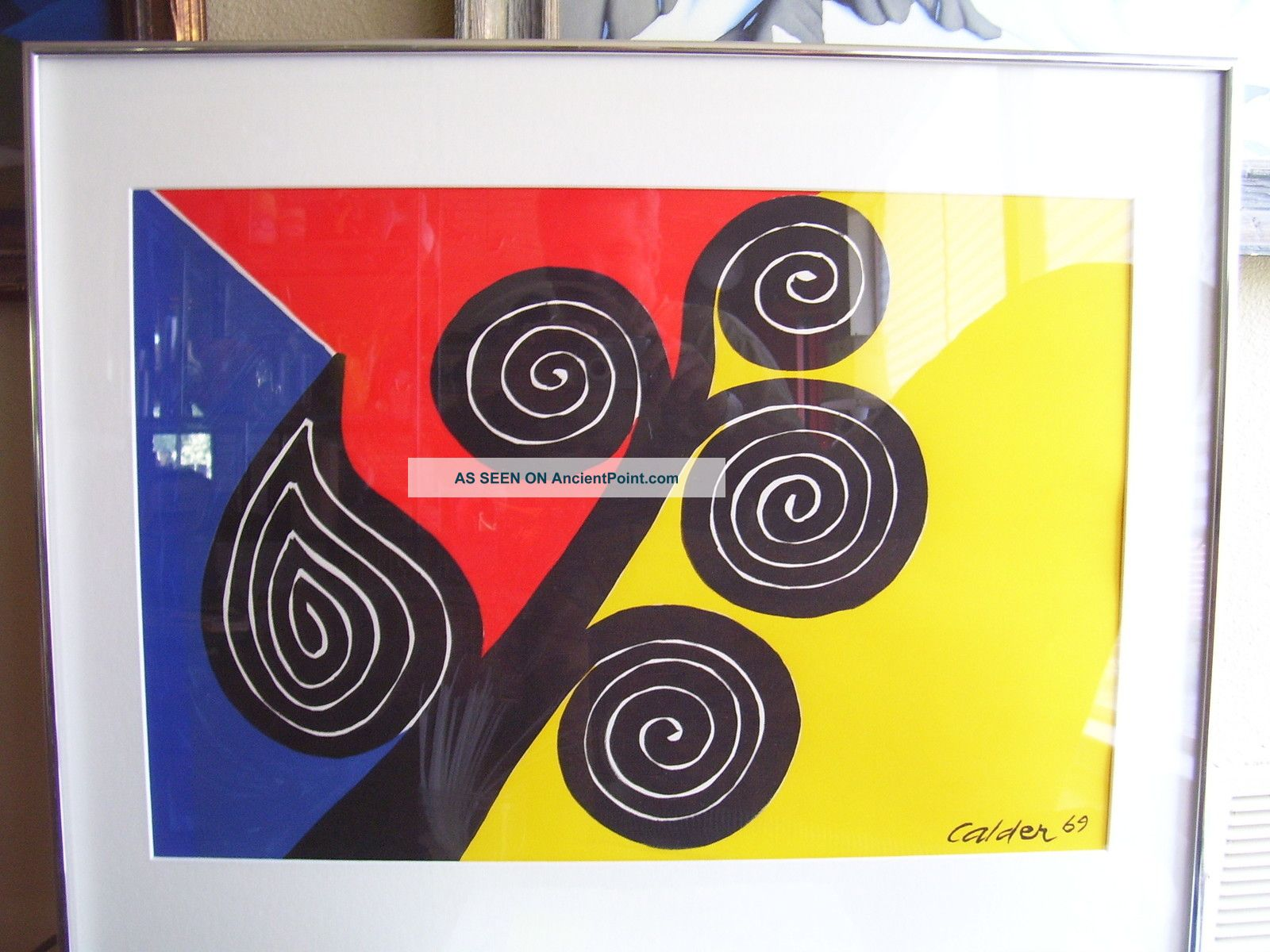 Charming Mid Century Modern Wall Art #3: Midcentury_modern_framed_alexander_calder_art_print_of_autumn_spirals_1_lgw.jpg