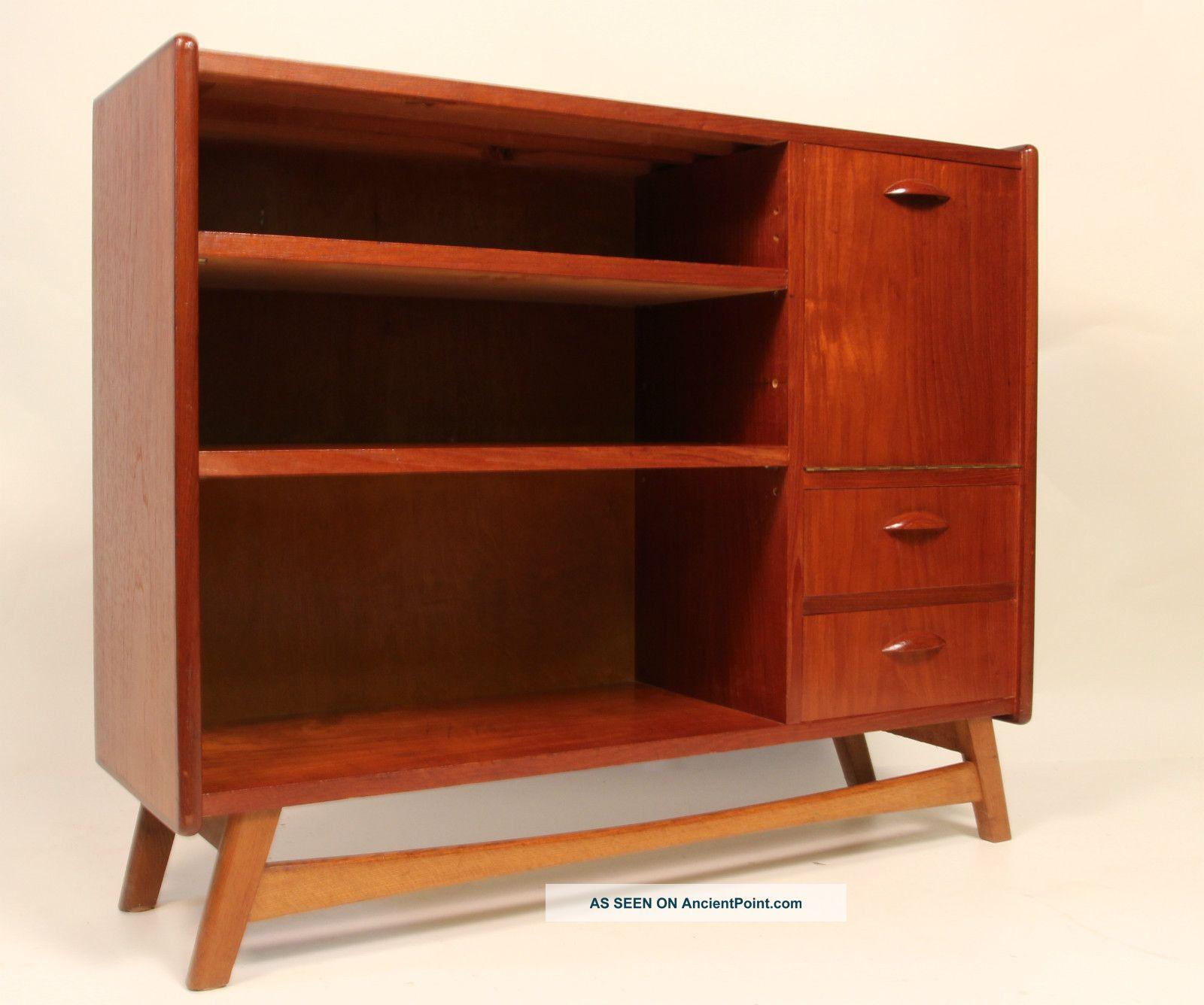 Mid Century Danish Modern Low Teak Bookshelf