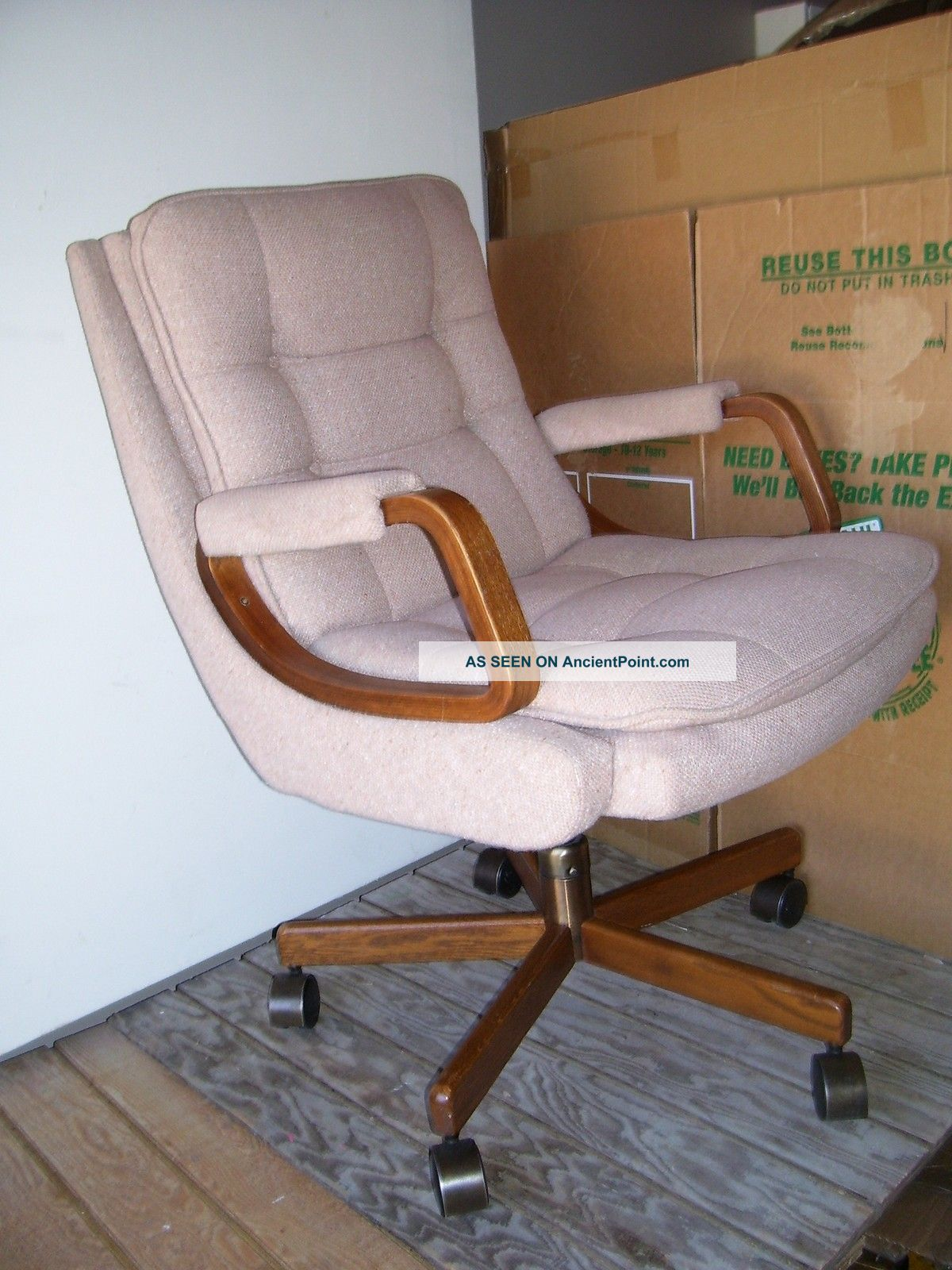 Modern Curve Oak Wood La Z Boy Cushion Beige Rose Swivel Office Chair . Full resolution‎  picture, nominally Width 1200 Height 1600 pixels, picture with #69442C.