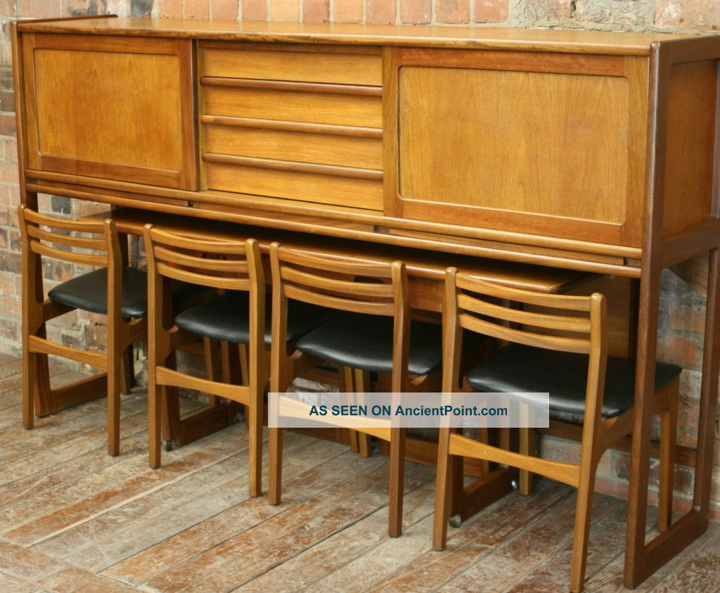 Danish Designed 1970s Teak Wall Unit Table And Chairs Post-1950 photo