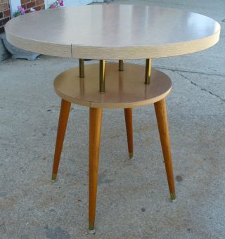 Mid Century Modern Two Tier Formica Table W/wooden Legs photo