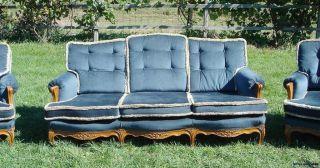 Vintage French Sofa/sette Carved Hardwood Frame photo
