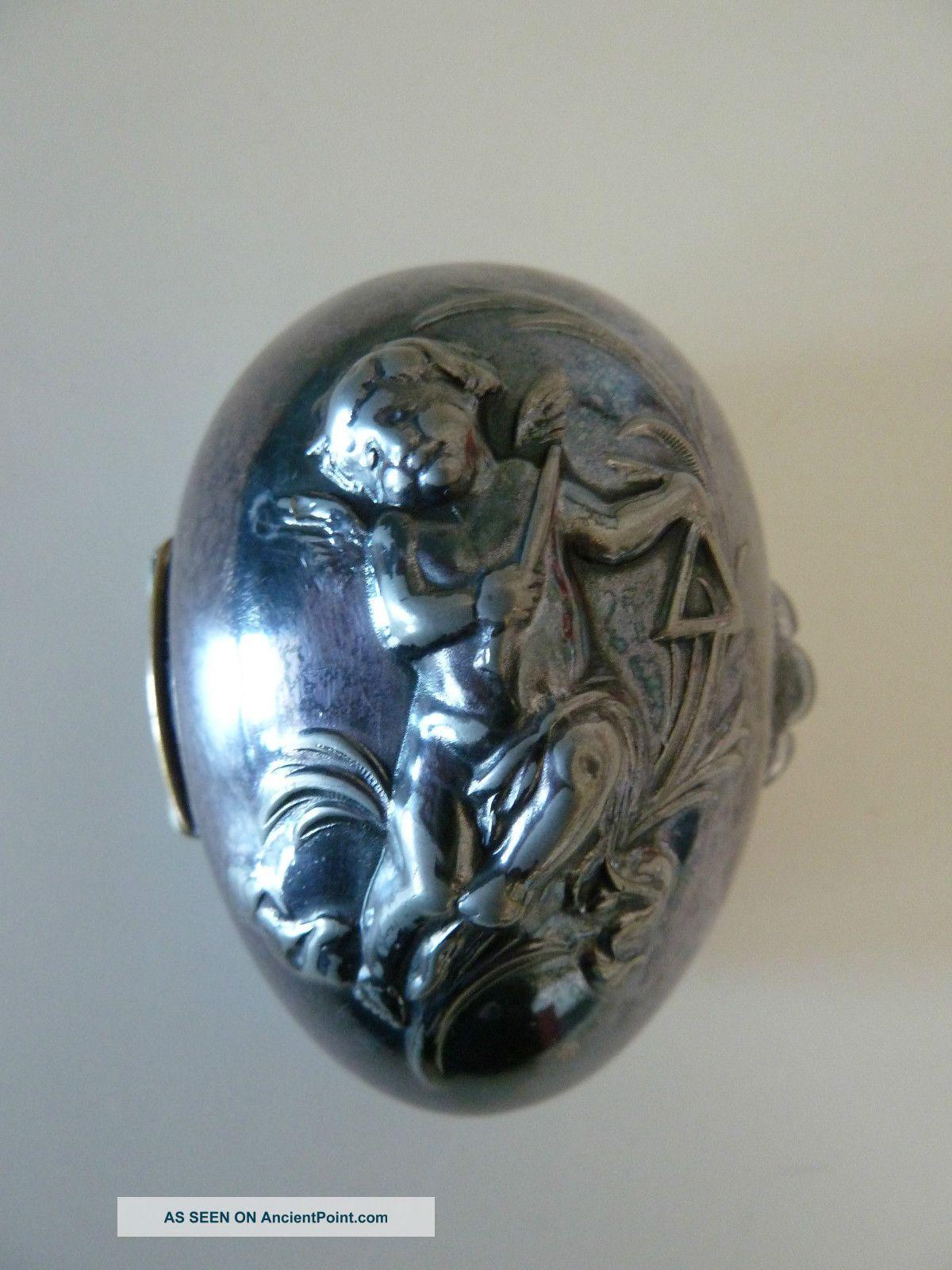Antique Quadruple Plate Hinged Egg Shaped Trinket Box With Cherub Other photo