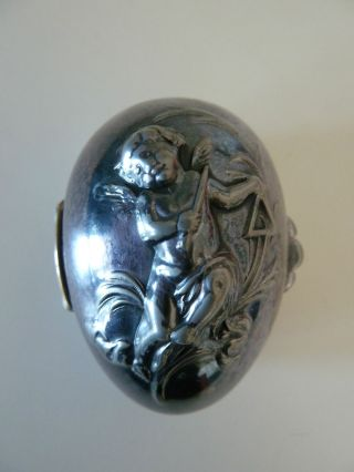 Antique Quadruple Plate Hinged Egg Shaped Trinket Box With Cherub photo