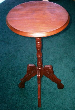 1870 ' S Table - Dog Head (with Long Tongue) Fern Stand - Solid Walnut - Gorgeous photo