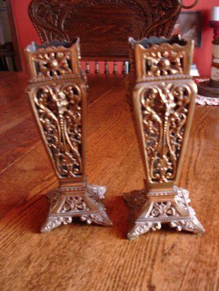 Antique Pair Of Victorian Brass Garnitures Ornate Decorative Holders Devils Head photo