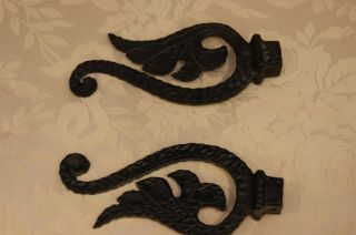 2 Antique Curtain Finials Heavy Black Wought Iron Matched Pair photo