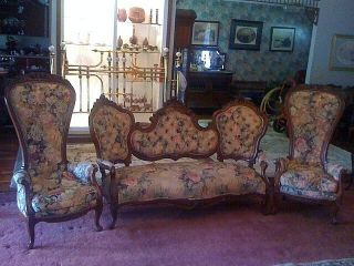 Victorian Parlor Set,  3 Pieces,  Very Ornate,  Maybe Belter Or Meeks photo