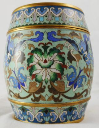 Wonderful 19th Cen.  Barrel Form Cloisonne Covered Box,  Great Colors photo