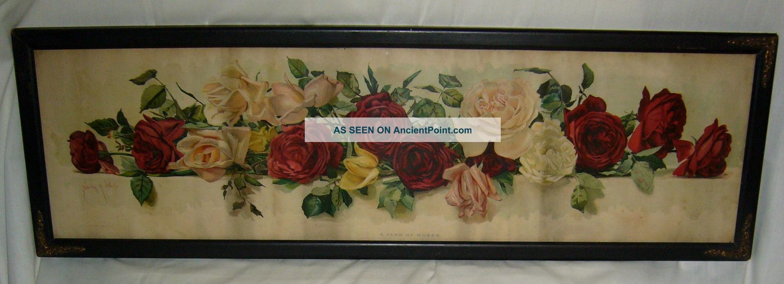 Antique 1901 Wood Framed Newton A.  Wells Yard Of Roses Lithograph Victorian photo