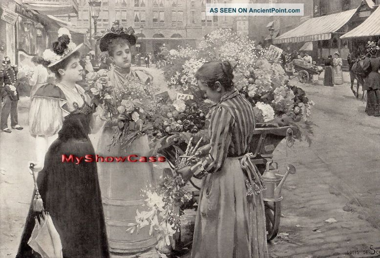 Rare Antique Schryver Print C19th Parisian Fashion Lady Dress Hat Flower Seller Victorian photo