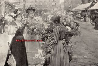 Rare Antique Schryver Print C19th Parisian Fashion Lady Dress Hat Flower Seller photo