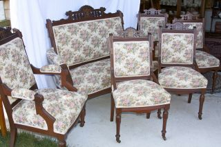 6 Piece Victorian East Lake Settee & 5 Matching Chairs photo