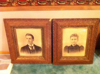 Pair Of Antique Charcoal Portraits - 1878 & 1879 - Husband & Wife - Victorian photo