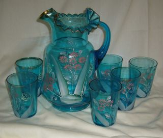 Antique Victorian Hand Painted Daisy Blue Glass Water Set Pitcher & 6 Tumblers photo