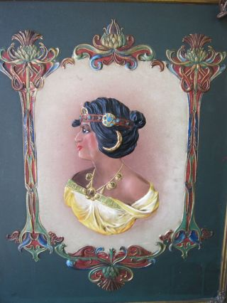 Rare 1899 Egyptian Victorian Hand Painted Tri - Fold Mirror - Cameo Relief Style photo