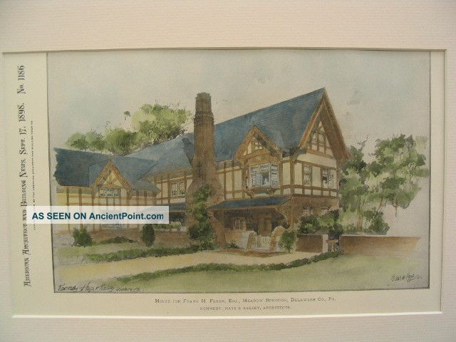 Fleer House,  Delaware County,  Pa,  1898,  Plan Victorian photo