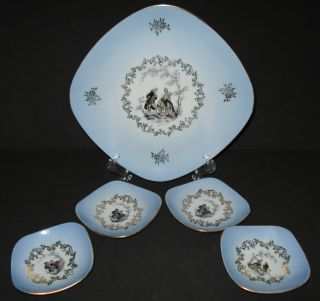 Antique Bavaria Porcelain Portrait Plate Desert Tray Set Colonial Courting 1904 photo
