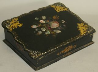 Antique Victorian French Papier Mache Writing Lap Desk C.  1880 photo