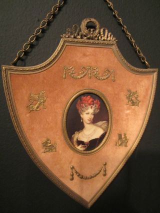Antique French 1800's Neoclassical Ormalu (bronze Dore) Velvet Shield Frame photo