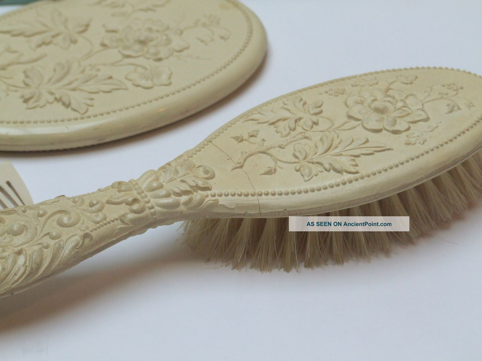 Antique Victorian Childs Celluloid Vanity Comb Brush Set Very Ornate Rare