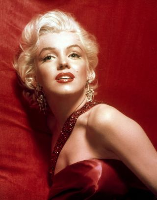 Marilyn Monroe - Red Satin Dress 19x23 Canvas Giclee Art Print photo