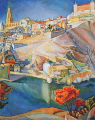 Diego Rivera - View Of Toledo 20x25 Canvas Giclee Art Print photo