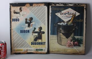 Champagne Dubonnet Menu Cover Advertisment Sign Old Litho Antique French Vintage photo