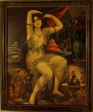 19th C Art Nouveau Chromolithograph Ethereal Gypsy Boho Lounging Woman~framed photo